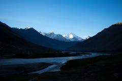Silhouette of dawn on snow cap mountain. In  Sonamarg, Jammu and Kashmir state, India Stock Photos