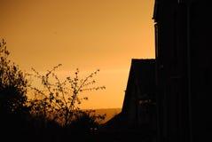 Silhouette de bâtiment photographie stock