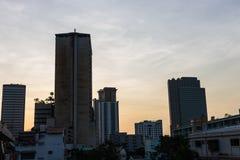 Silhouette de bâtiment Photo stock