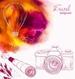 Silhouette de ballon à air sur le fond coloré de voyage Photo libre de droits