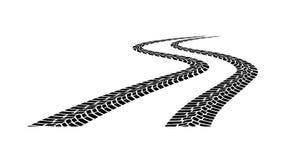 Silhouette de bande de roulement de voiture sur un fond blanc Photos stock