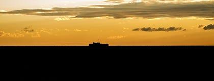 Silhouette de bateau Photographie stock