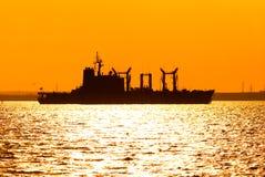 silhouette de bateau Image stock