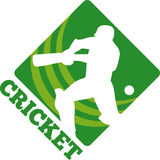 Silhouette de batteur de cricket Images stock