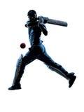 Silhouette de batteur de joueur de cricket Photo libre de droits