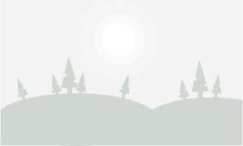 Silhouette de belles collines en brouillard Image stock