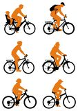 silhouette de bicyclettes Photos libres de droits