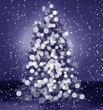 Silhouette de Bokeh d'arbre de Noël Image libre de droits
