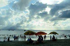 Silhouette de bord de la mer Photographie stock