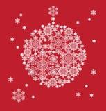 Silhouette de boule accrochante constituée par des flocons de neige Image libre de droits