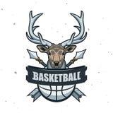 Silhouette de boule de basket-ball Sport Logo Template Ve de basket-ball Images libres de droits