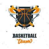 Silhouette de boule de basket-ball Sport Logo Template Ve de basket-ball Photo stock