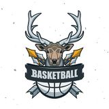 Silhouette de boule de basket-ball Sport Logo Template Ve de basket-ball Photo libre de droits