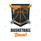 Silhouette de boule de basket-ball Sport Logo Template Ve de basket-ball Image libre de droits