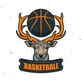 Silhouette de boule de basket-ball Sport Logo Template Ve de basket-ball Illustration Stock