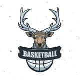 Silhouette de boule de basket-ball Sport Logo Template Ve de basket-ball Photographie stock libre de droits