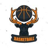 Silhouette de boule de basket-ball Sport Logo Template Ve de basket-ball Images stock