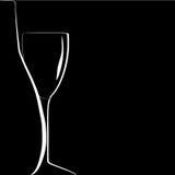 Silhouette de bouteille et de verre à vin sur le backgroun noir Photographie stock
