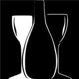 Silhouette de bouteille et de verre à vin sur le backgroun noir Photo libre de droits