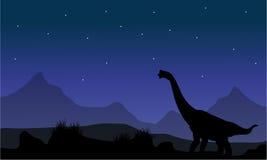 Silhouette de brachiosaurus en parc Image libre de droits