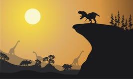 Silhouette de Brachiosaurus et d'Ankylosaurus Photo libre de droits