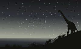 Silhouette de brachiosaurus la nuit Photographie stock libre de droits