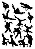 silhouette de breakdancer Image libre de droits