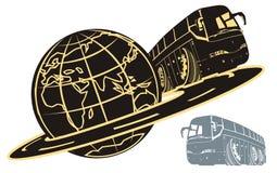 Silhouette de bus de touristes de vecteur illustration libre de droits