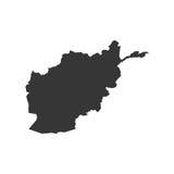 Silhouette de carte de l'Afghanistan Photos libres de droits