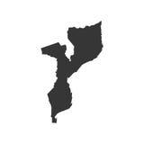 Silhouette de carte de la Mozambique Photographie stock