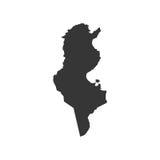 Silhouette de carte de la Tunisie Images stock