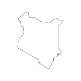 Silhouette de carte du Kenya Photos stock