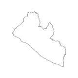 Silhouette de carte du Libéria Images stock