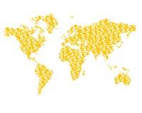 Silhouette de carte du monde créée des pièces de monnaie avec des symboles dollar Photo stock
