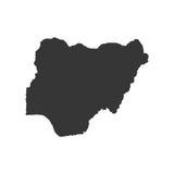 Silhouette de carte du Nigéria Photographie stock libre de droits