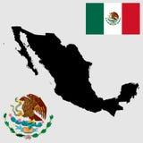 Silhouette de carte de vecteur et drapeau du Mexique Manteau du Mexique des bras, joint, emblème national illustration stock