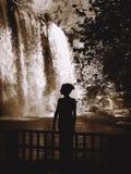 Silhouette de cascade se tenante prêt de femme Image libre de droits