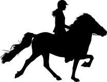 Silhouette de cavalier sur le cheval Illustration Libre de Droits