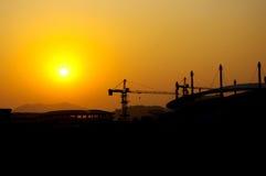 Silhouette de chantier de construction Photos libres de droits