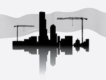 Silhouette de chantier de construction avec des tours de grue Illustration Stock
