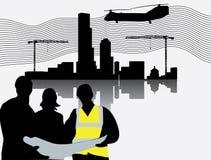 Silhouette de chantier de construction avec des tours de grue Illustration de Vecteur