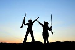 Silhouette de chasseur Photo stock