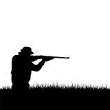 Silhouette de chasseur de cerfs communs Images libres de droits