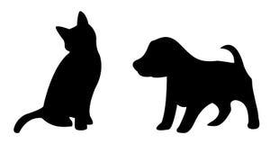 Silhouette de chiot et de chaton sur le fond blanc Images libres de droits