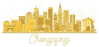 Silhouette de Chongqing China City Skyline Golden illustration libre de droits