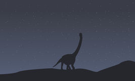 Silhouette de collection de paysage d'argentinosaurus Images libres de droits