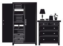 Silhouette de compartiment et coffre des tiroirs illustration stock