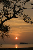Silhouette de coucher du soleil à la plage Photos libres de droits