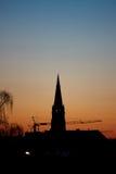 Silhouette de coucher du soleil Photos libres de droits