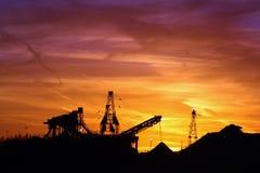 Silhouette de coucher du soleil de bac à sable du Kansas Image libre de droits